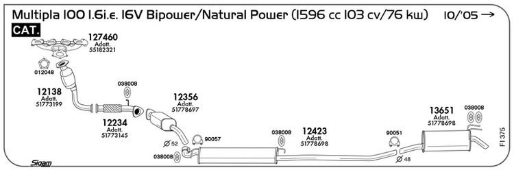MARMITTA SILENZIATORE CENTRALE FIAT MULTIPLA 186 1.6 16V Bipower 01/>10 12423